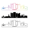 Baltimore skyline linear style with rainbow vector image