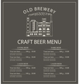 craft beer menu with brewery building vector image