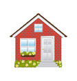 comfortable facade small house with brick wall vector image vector image