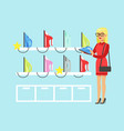 young blond woman choosing an iron in home vector image