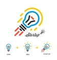 Start up business concept network bulb-rocket vector