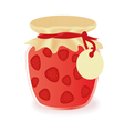 jar of strawberry jam vector image vector image