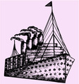 Ship steamboat steamship vector image