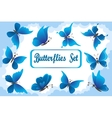 Blue Butterflies in Sky with Clouds vector image vector image
