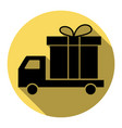 delivery gift sign flat black icon with vector image