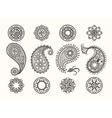 Henna tatoo paisley icons set vector image