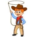 Cowboy kid cartoon twirling a lasso vector image