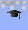 black graduation cap on confetti background vector image
