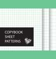 copybook sheet pattern set squared paper vector image