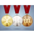 Gold silver and bronze medals on ribbons vector image