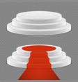 realistic pedestal set - 3d pedestal with red vector image