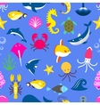 Seamless pattern with marine beasts fish pattern vector image