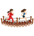 two girls running on the wooden bridge vector image
