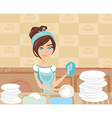 housewife washing the dishes vector image