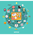 Office Decorative Icons Set In Circle Order vector image vector image