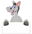 Donkey cartoon with blank sign vector image
