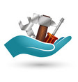 tool for repair in hand vector image vector image