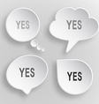 Yes White flat buttons on gray background vector image