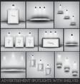 Collection of spotlights and shelves for product vector image