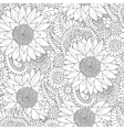 Seamless pattern with black and white sunflowers vector image