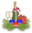 champagne gift box christmas vector image vector image