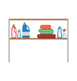 colorful silhouette of rack with clothing cleaning vector image