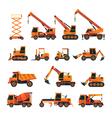 Construction Vehicles Objects Orange Set vector image