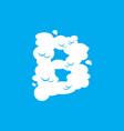 letter b cloud font symbol white alphabet sign on vector image