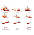 low poly offshore oil exploration vessels vector image
