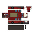 paper model of an old firetruck vector image