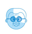 silhouette old man face with hairstyle vector image