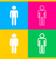man sign  four styles of icon on four vector image