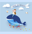card with boy sitting on whale flying on blue sky vector image