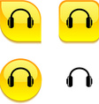 headphones glossy button vector image