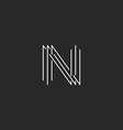 Letter N monogram logo black and white mockup vector image