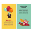 amazing show at vintage circus vertical vector image