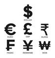 currency icon set money famous world vector image