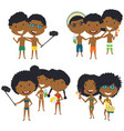 beach african-american male and female characters vector image vector image