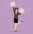 Business woman cheerleader vector image