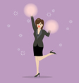 Business woman cheerleader vector image