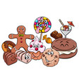 candy characters group cartoon vector image