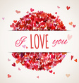 Colourful square hearts background with white vector image