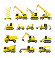 Construction Vehicles Objects Yellow Set vector image