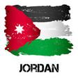flag of jordan from brush strokes vector image
