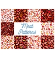 Meat delicatessen sausages seamless patterns vector image