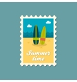 Surfboard flat stamp summertime vector image