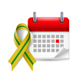 Olivegreen awareness ribbon and calendar vector image
