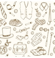 Gentlemans vintage accessories doodle seamless vector image
