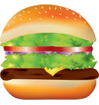 big burger on white background vector image