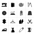 Black sewing equipment and objects icons vector image